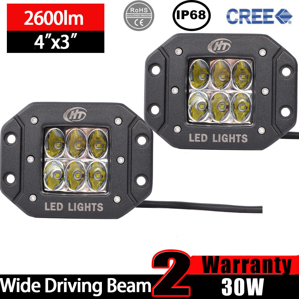 House Tuning 30W Driving Beam LED Driving Light Flush Mount Pod Lights for Bumper(Pack of 2)