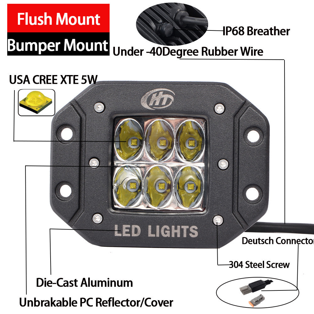 House Tuning 30w Driving Beam Led Light Flush Mount Pod Wiring For Lights Bumperpack