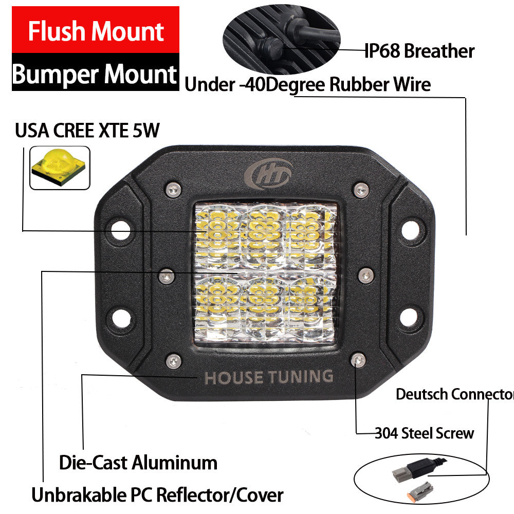 House Tuning Cree Led 60w Diffused Flood Backup Reverse Flush Fog Light Wiring Diagram Also A Switch To Lights Mount 20ft Wire Harenss