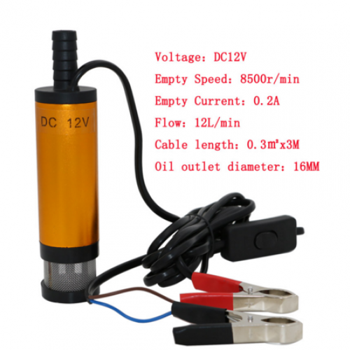 Camping fishing Submersible Transfer Pump Worldwide Cable Length: about 3.8M. 12V DC MINI Diesel Fuel Water Oil Car