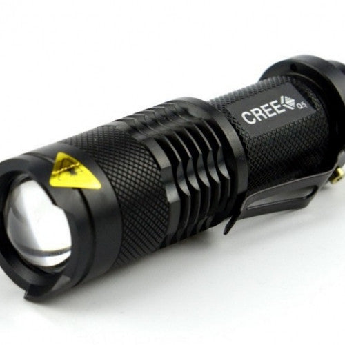 Rushed camp mini led flashlight torch 7w 2000lm cree q5 adjustable focus zoom light lamp