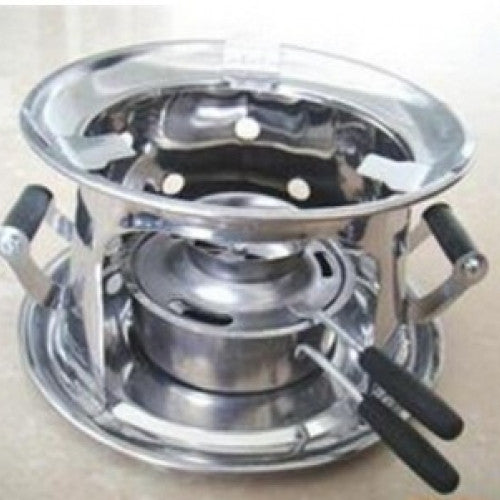 Portable alcohol stove with middle thick design which is easy to carry and Stainless steel camping equipment