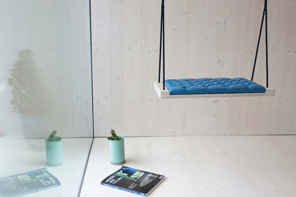 Natural wood/Blue fabric - Hooga swing