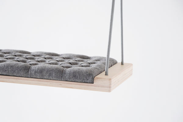 Natural wood/Grey fabric - Hooga swing