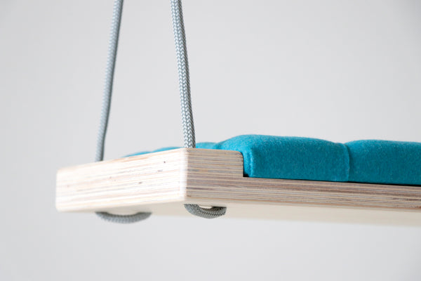 Natural wood/Turquoise fabric - Hooga swing