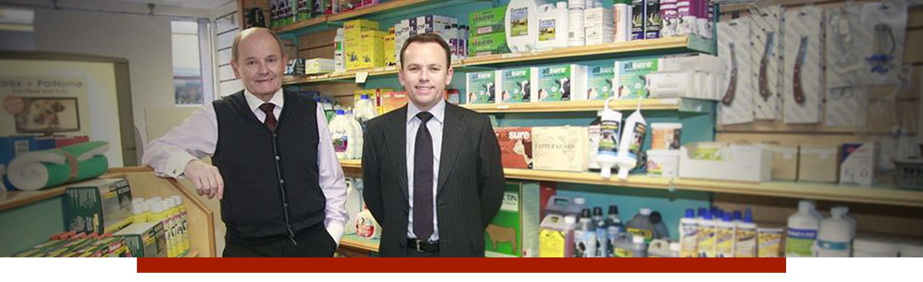 James and Peter McElwee in McElwee Pharmacy Mountmellick