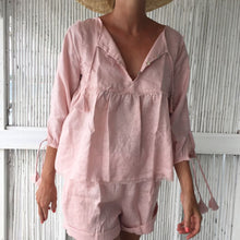 Load image into Gallery viewer, Prue Smock Top - Dust Pink Linen