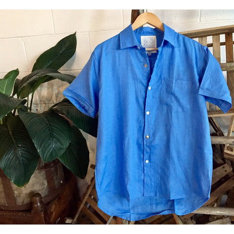 Crandokta Blue Linen Shirt - Short Sleeved