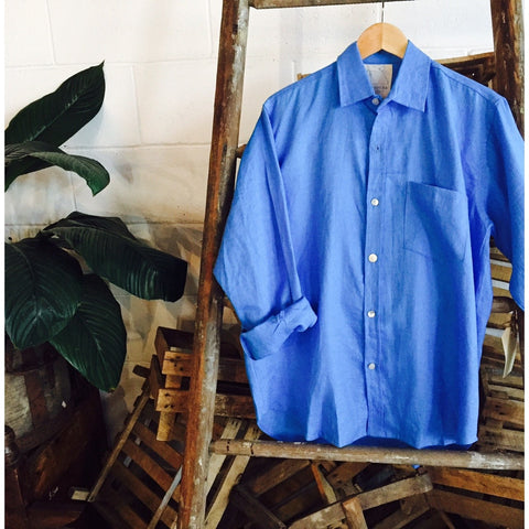 Crandokta Blue Linen Shirt - Long Sleeved