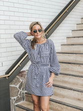 Load image into Gallery viewer, Amalfi Smock Dress - Navy Gingham