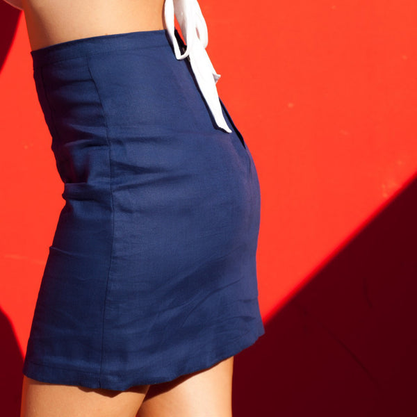 Belize Skirt - Navy / White
