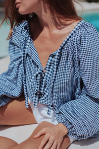 Sammie Smock Top - Navy Gingham