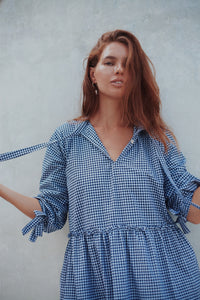 Bellagio Dress - Mini Navy Gingham