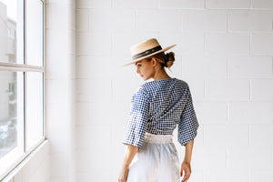 Mykonos Top - Navy Gingham