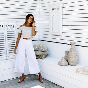 Sasha Crop Top - Sand Linen
