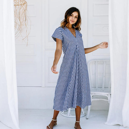 Lulu Dress - Navy Gingham