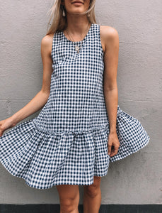 Annie Dress - Navy Gingham