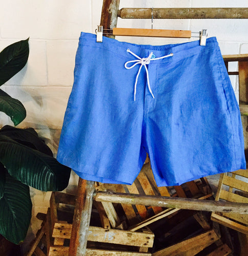 Linen Walk Shorts - Blue
