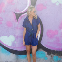 Load image into Gallery viewer, Poppy Linen Playsuit - Navy
