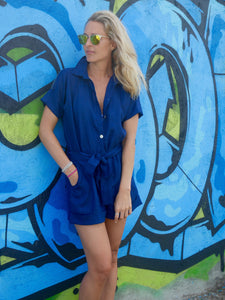 Poppy Linen Playsuit - Navy
