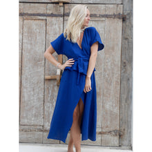 Load image into Gallery viewer, Linen Peplum Wrap Dress - Navy