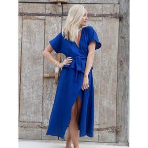 Linen Peplum Wrap Dress - Navy