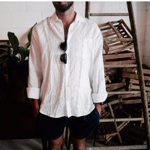Load image into Gallery viewer, Crandokta Linen Long Sleeved Shirt - White & Navy