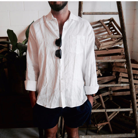 Crandokta Linen Shirt - Long Sleeved (White + Navy)
