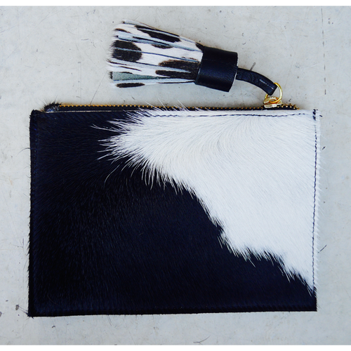 Leather Coin Purse - Black and White Natural