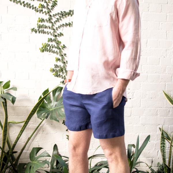 Linen Walk Shorts - Navy