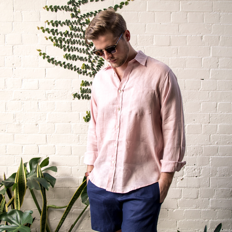 Dust Pink Crandokta Linen Shirt - Long Sleeved