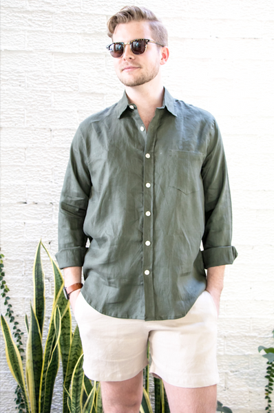 Khaki Crandokta Linen Shirt - Long Sleeved