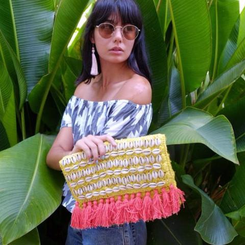 Raffia Clutch - Yellow