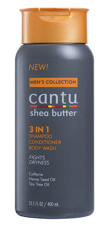 Cantu Shea Butter Men's Collection 3 in 1 Shampoo, Conditioner, and Body Wash