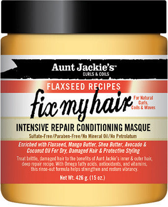 Aunt Jackie's Curls & Coils Flaxseed Recipes Fix My Hair Intensive Repair Conditioning Masque
