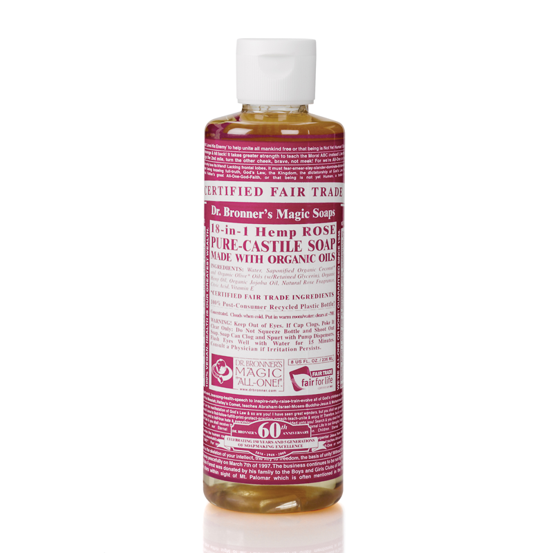Dr. Bronner's 18-in-1 Hemp Rose Pure-Castile Liquid Soap 8oz