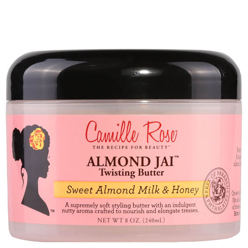 Camille Rose Naturals Almond Jai Twisting Butter is designed to absorb easily into the hair to provide lightweight hydration. Ideal for creating twist-out styles, the butter helps to ensure softness, while minimising the appearance of frizz to create a more defined curl pattern. Formulated with a blend of gourmet ingredients, the deliciously-scented butter helps to prevent shrinkage, keeping coils in place and adding shine.