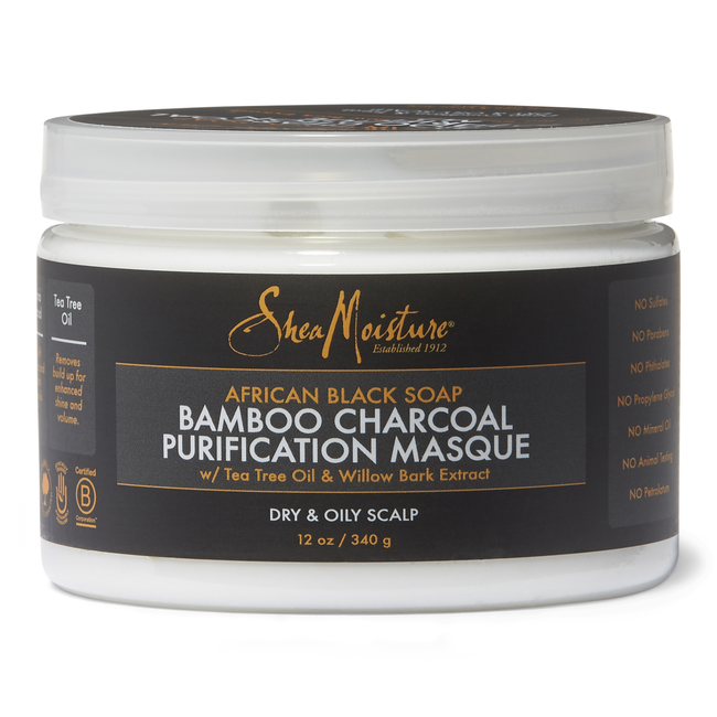 SheaMoisture African Black Soap Bamboo Charcoal Purification Masque 12oz