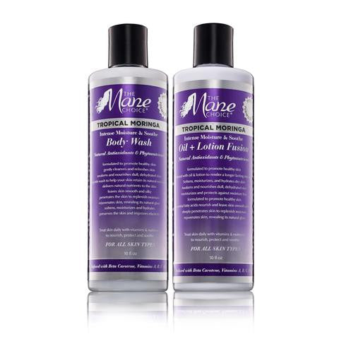 The Mane Choice Tropical Moringa Body Wash & Oil + Lotion Fusion Set