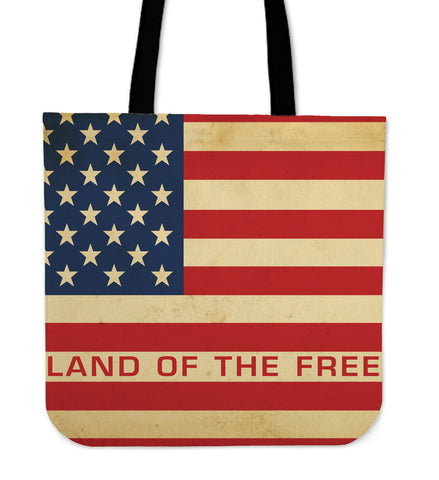 America Patriotic Land of Free Totebag