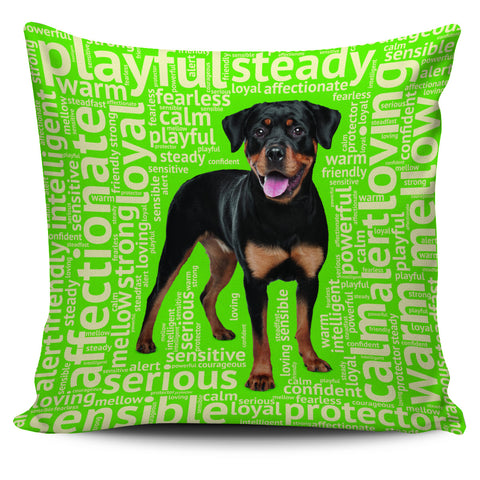 Rottweiler Green Pillow Cover