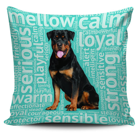 Rottweiler Blue Pillow Cover