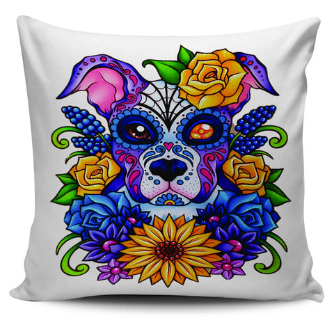 Sugar Skull Puppy Pillow Cover