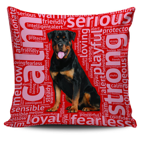 Rottweiler Red Pillow Cover