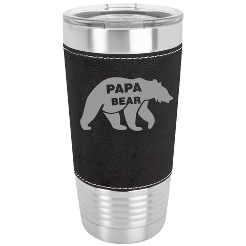 Polar Camel - 20 oz. Laserable Leatherette Tumbler (Black){Laser Etched No Colored Art} Papa Bear
