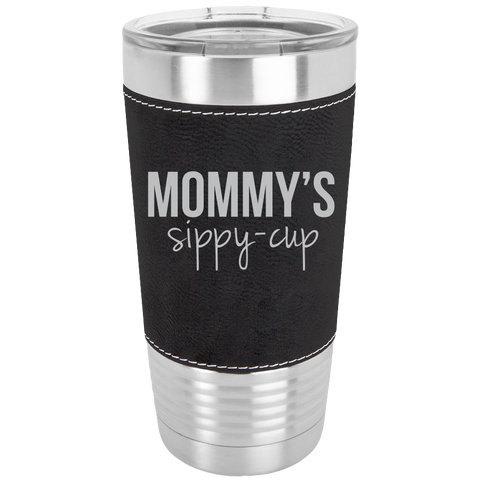Polar Camel - 20 oz. Laserable Leatherette Tumbler (Black){Laser Etched No Colored Art} Mommy's Sippy Cup