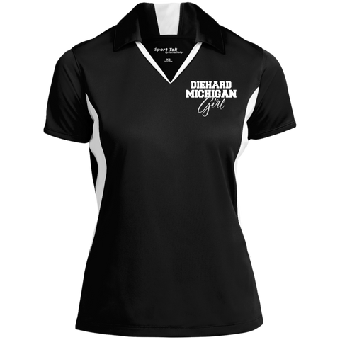 Diehard Michigan Girl Sport-Tek Ladies' Colorblock Performance Polo