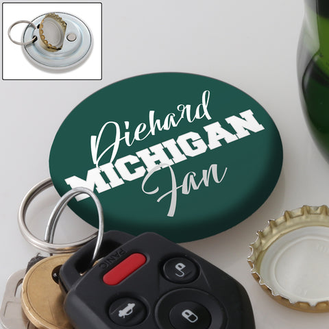 Diehard Michigan Girl Fan Magnetic Keychain Bottle Opener