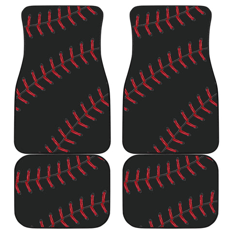 Black Baseball Front And Back Car Mats (Set Of 4)