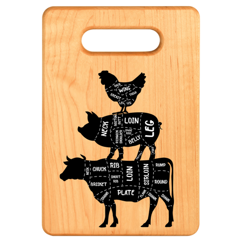 Cutting Board - Maple - Cow Pig Chicken